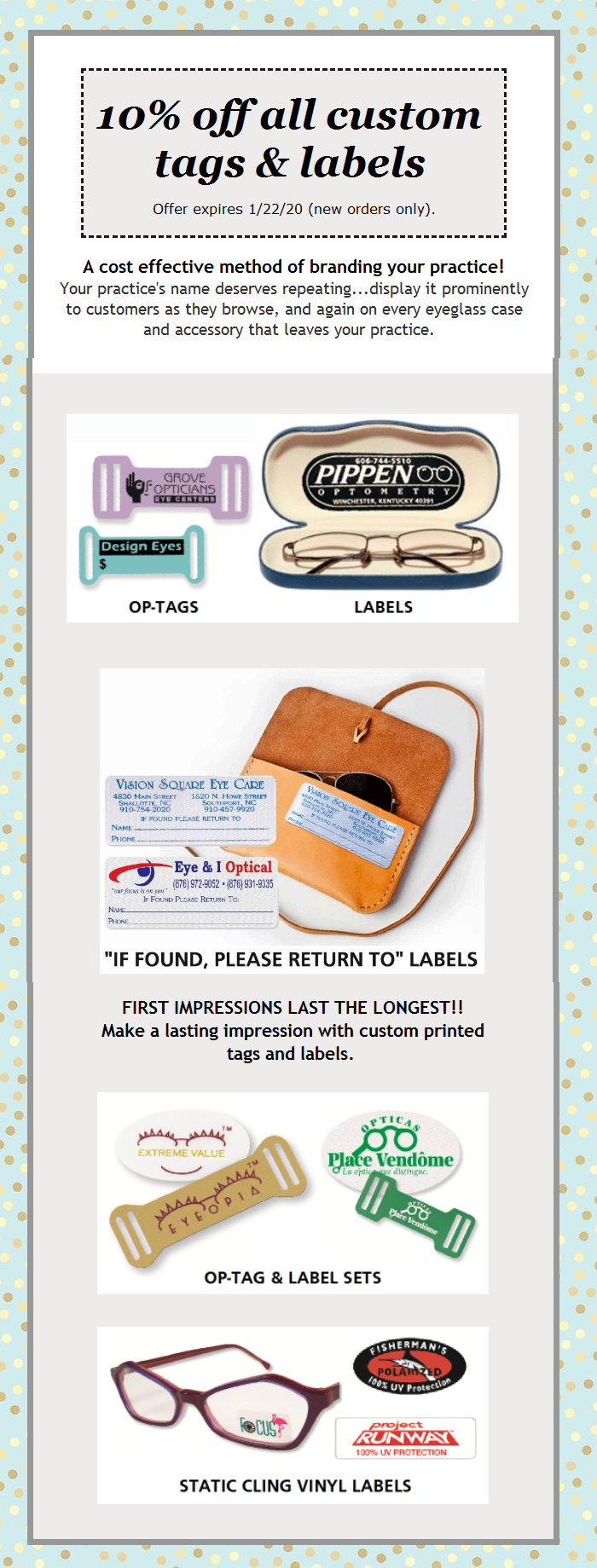 This is a photo of Eloquent Optical Tags and Labels